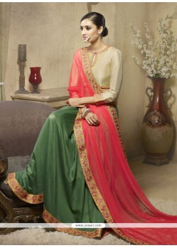 Graceful Green Patch Border Work Net Designer Saree