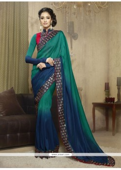 Especial Georgette Green And Blue Designer Saree