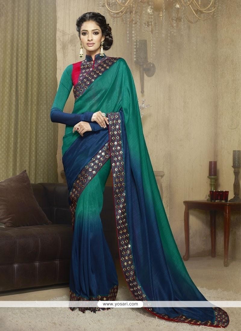 Especial Georgette Green And Blue Designer Saree