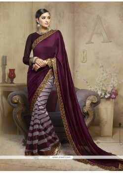Piquant Viscose Wine Designer Saree