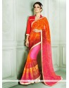 Energetic Red Georgette Casual Saree