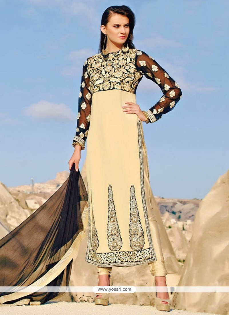 Amazing Beige Shaded Faux Georgette Pakistani Styles Suit