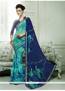 Alluring Georgette Blue Casual Saree
