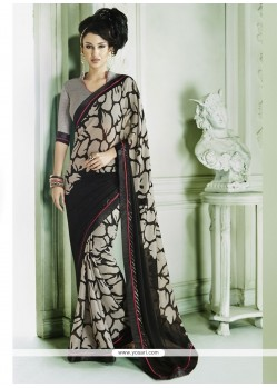 Sunshine Lace Work Black Casual Saree