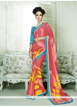 Sumptuous Hot Pink Print Work Casual Saree