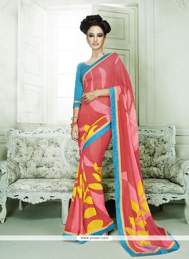 Sumptuous Hot Pink Print Work Casual Saree