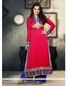 Ameesha Patel Styles Hot Pink Jacquard Pakistani Salwar Kameez