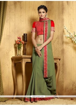 Glitzy Green Embroidered Work Designer Saree