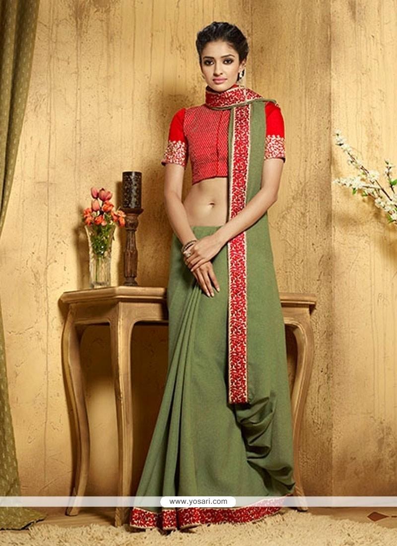 Glitzy Green Embroidered Work Designer Saree