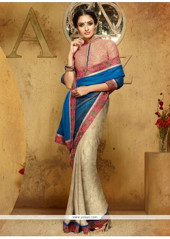Riveting Beige And Blue Designer Saree