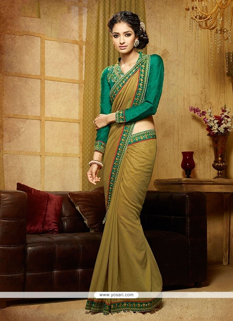 Sunshine Green Designer Saree