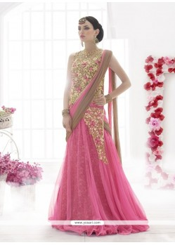 Immaculate Net Pink Embroidered Work Lehenga Saree