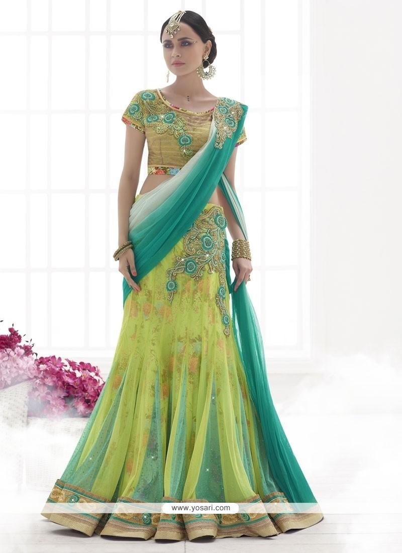 Conspicuous Green Resham Work Lehenga Saree
