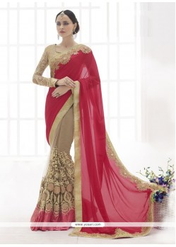 Ideal Hot Pink Faux Chiffon Designer Saree