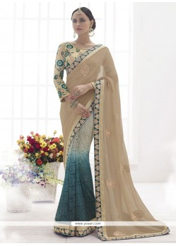 Affectionate Grey Net Designer Saree