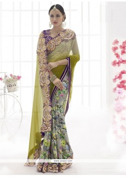 Desirable Embroidered Work Green Designer Saree
