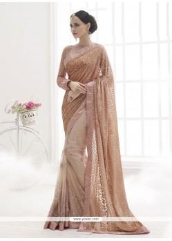 Ravishing Net Brown Designer Saree