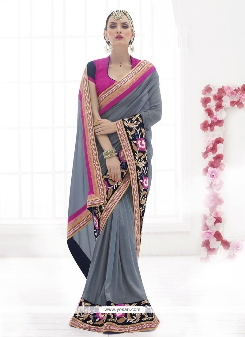 Intricate Faux Chiffon Grey Designer Saree