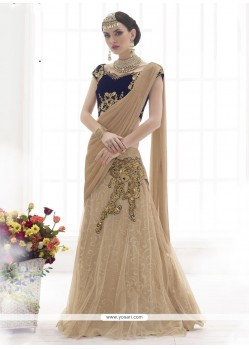 Pristine Beige Embroidered Work Lehenga Saree