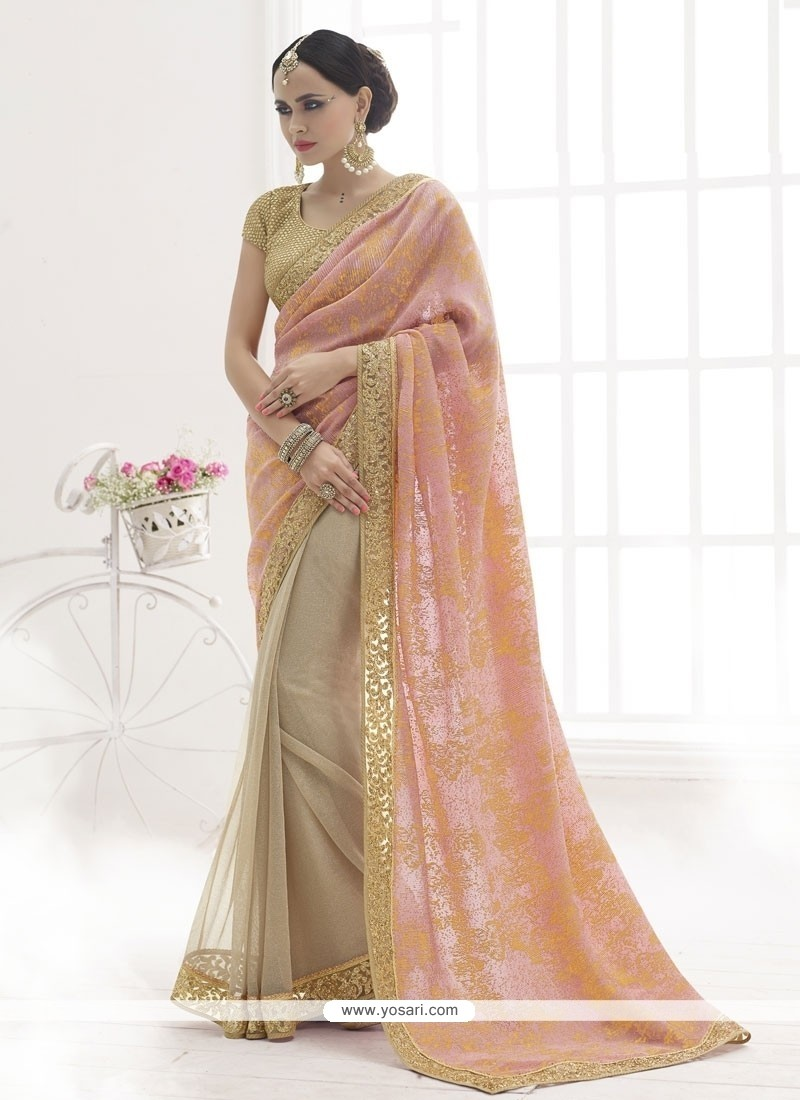 Luscious Patch Border Work Peach Designer Saree