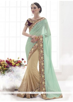 Glorious Net Beige Patch Border Work Designer Saree