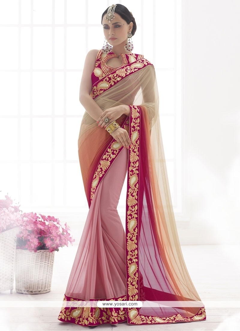 Lovely Lycra Embroidered Work Designer Saree