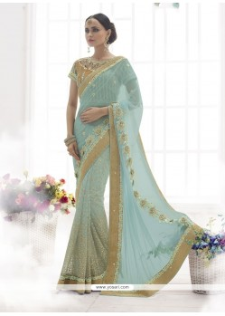 Haute Satin Blue Designer Saree