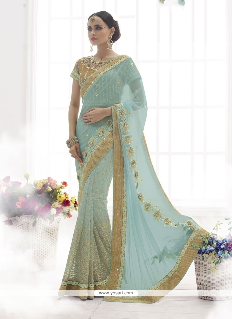 Shop online haute satin blue designer saree for Haute design