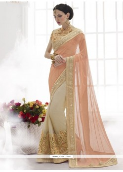 Heavenly Beige Resham Work Designer Saree