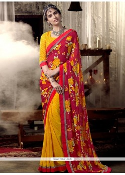 Glitzy Print Work Multi Colour Casual Saree