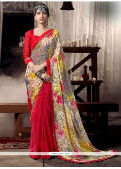 Aspiring Faux Chiffon Multi Colour Lace Work Casual Saree