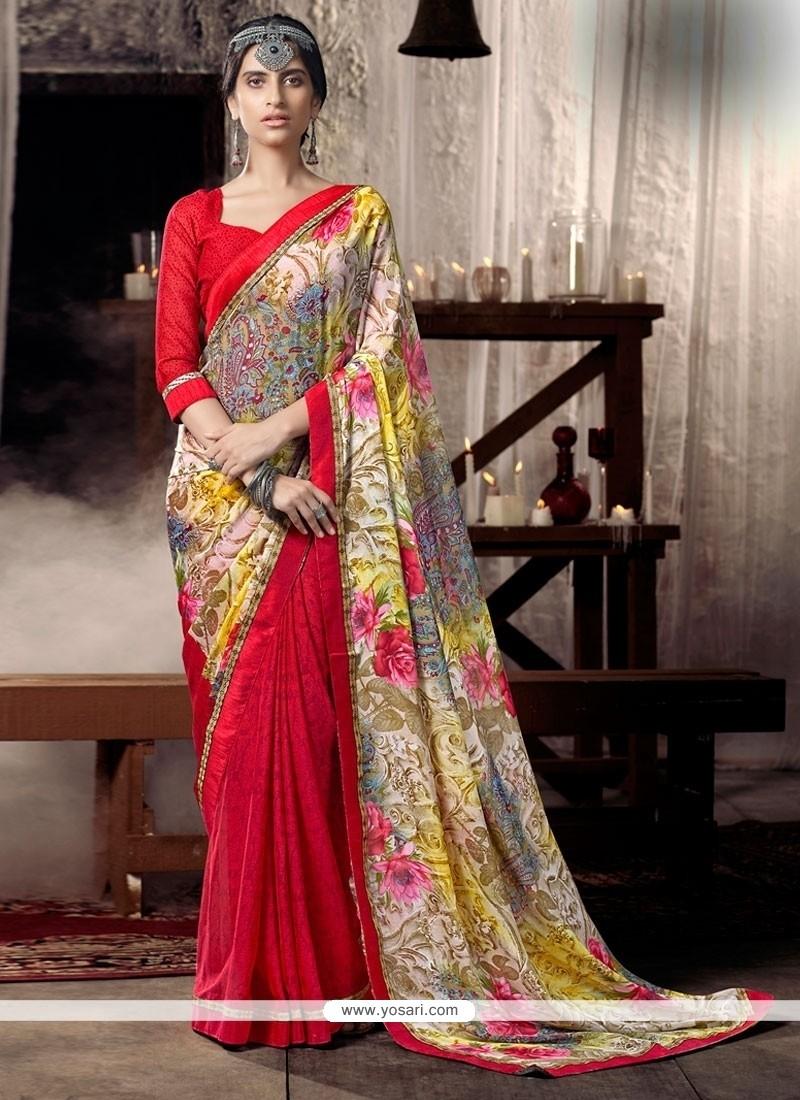 Aspiring Faux Chiffon Multi Colour Lace Work Casual Saree
