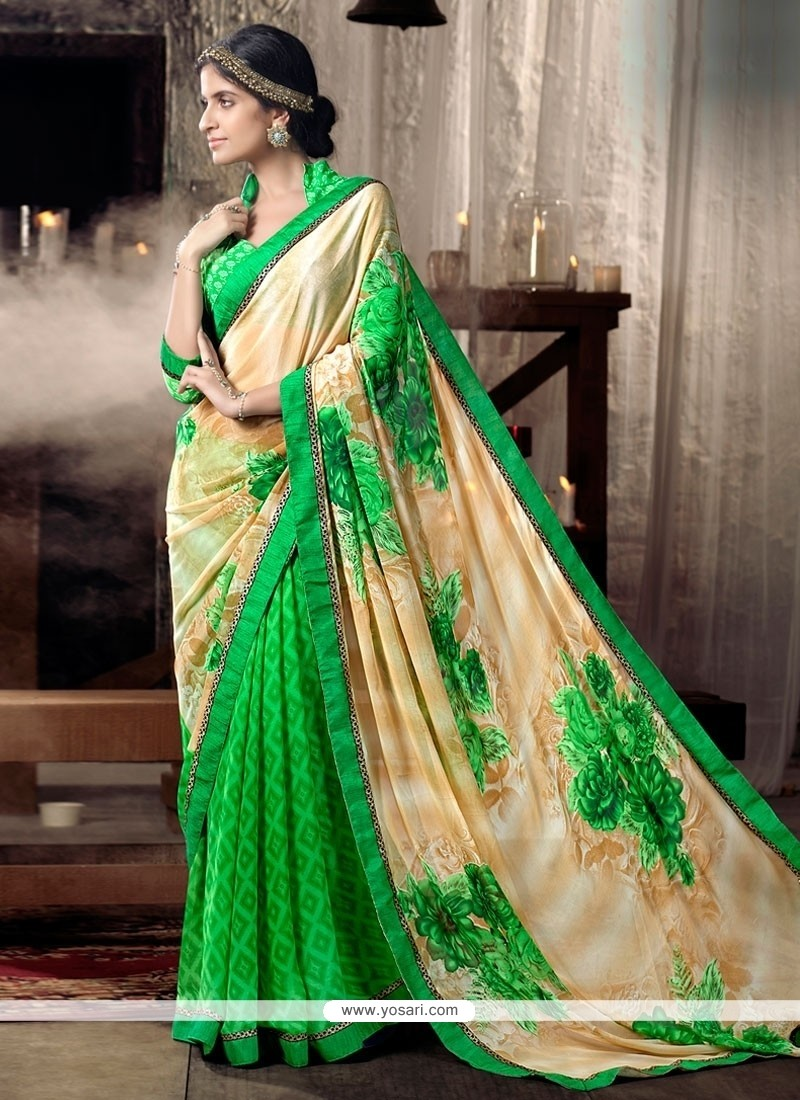 Exotic Faux Chiffon Print Work Casual Saree