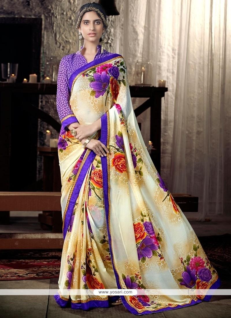Glitzy Lace Work Multi Colour Faux Chiffon Casual Saree