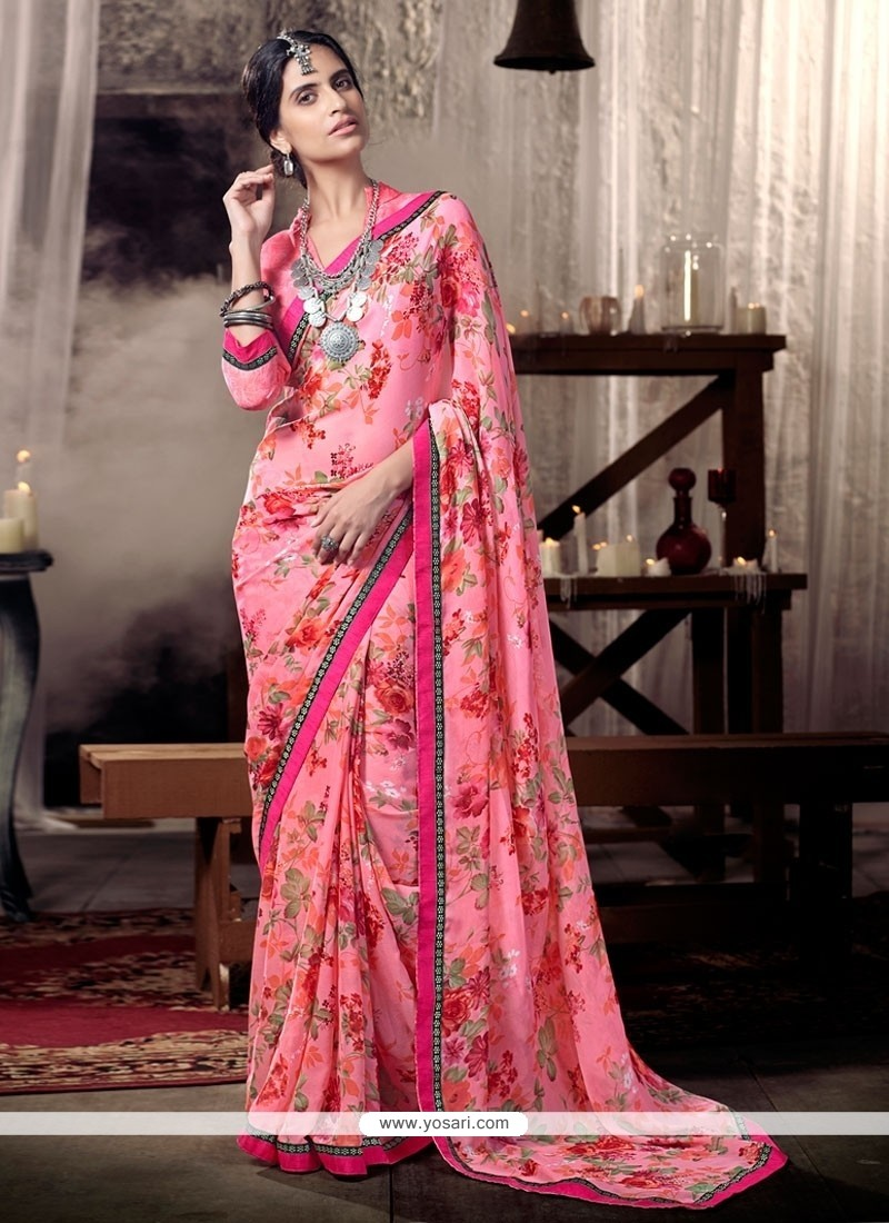 Scintillating Faux Chiffon Multi Colour Lace Work Casual Saree
