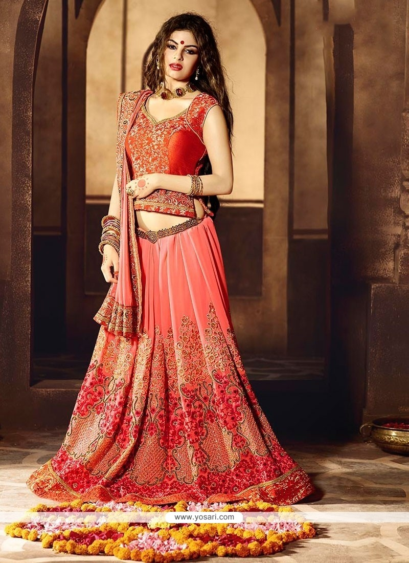 Strange Viscose Patch Border Work Lehenga Saree