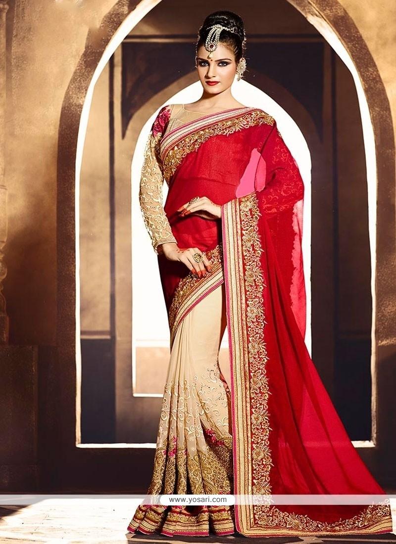 Exotic Shimmer Georgette Red Zari Work Designer Saree