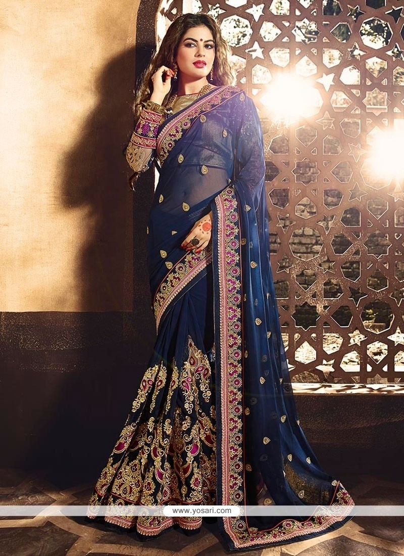 Specialised Viscose Blue Designer Saree