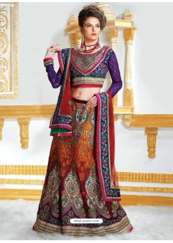 Dazzling Orange Resham Enhanced Net Lehenga Choli