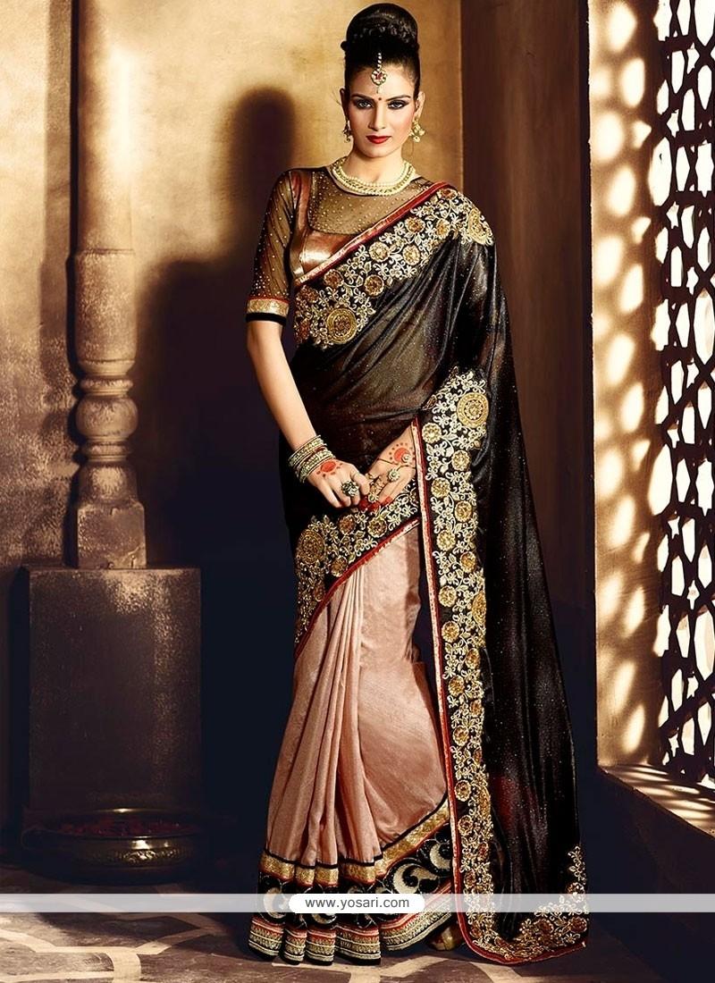 Competent Black Lycra Designer Saree