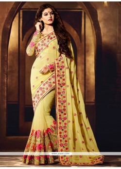 Conspicuous Yellow Resham Work Viscose Designer Saree