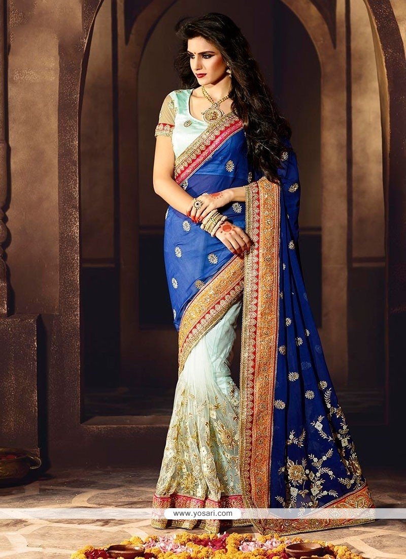Amusing Blue And Sea Green Designer Saree