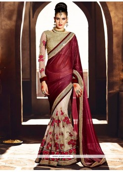 Alluring Wine Zari Work Designer Saree