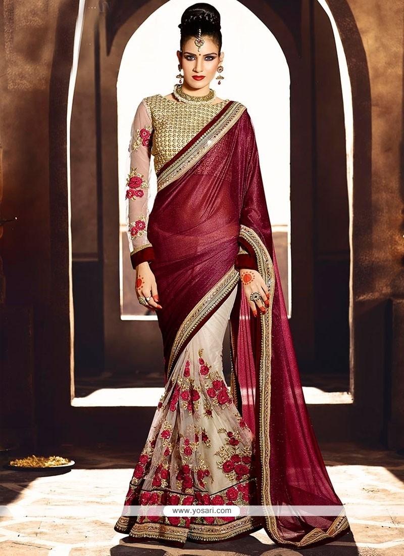 Alluring Wine Zari Work Designer Saree