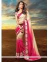 Innovative Crepe Jacquard Hot Pink Designer Saree