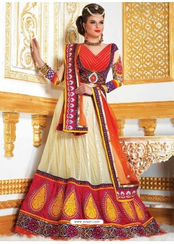 Off White Embroidered Net Lehenga Choli