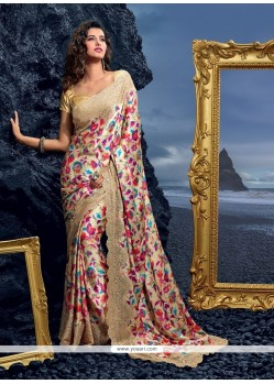 Excellent Faux Crepe Multi Colour Print Work Designer Saree