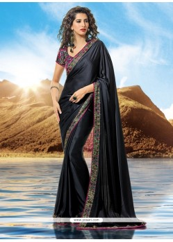 Superb Black Satin Designer Saree