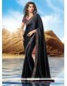 Superb Black Satin Designer Saree