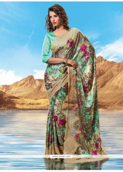 Elegant Multi Colour Print Work Designer Saree